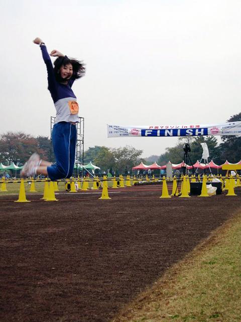 戸田マラソンでジャンピング